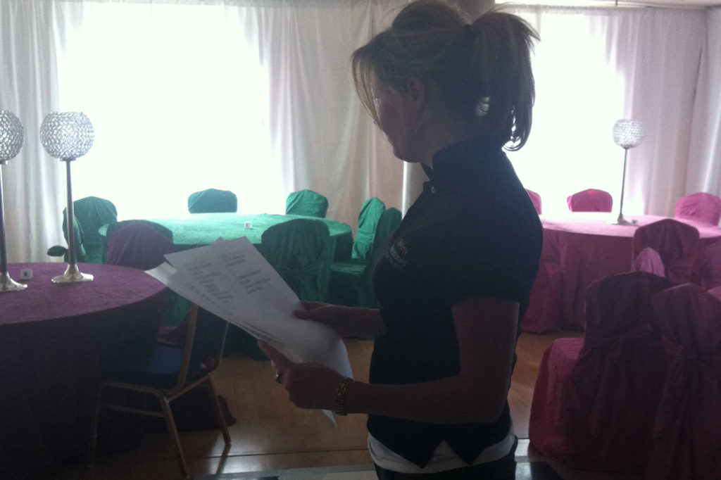 caroline working at our latest party pro event